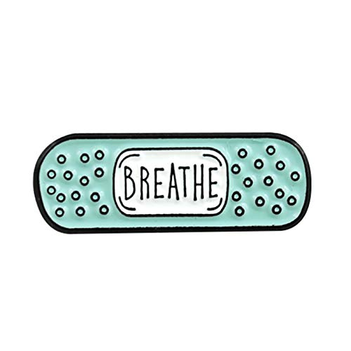 Brooches, Breathe Believe Achieve Calm I AM Enough Unisex Band-aid Brooch Pin Jacket Badge - Light Green