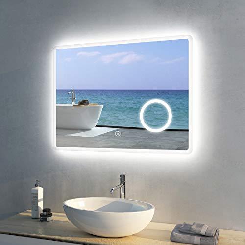 Meykoers Wandspiegel Badezimmerspiegel LED Badspiegel mit Beleuchtung 80x60cm Spiegel mit Vergrößerung, Lichtspiegel Dimmbar Warmweiß/Kaltweiß/Neutral 3000K-6400K