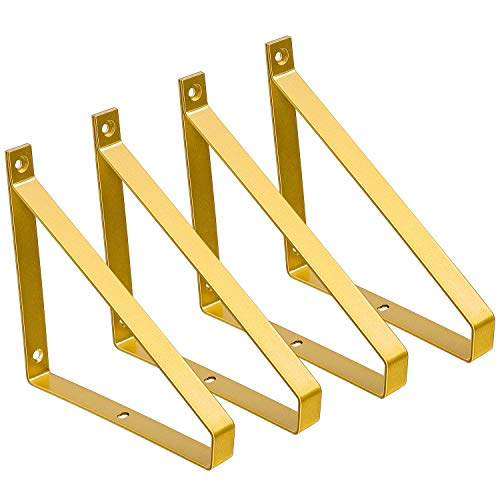 Mkono Gold Shelf Brackets 4 Pack Heavy Duty Floating Shelves Bracket for Wall Metal Triangle Shelving Brackets for DIY Open Shelf Home Decor, Hardware Included, 5.7