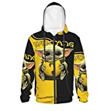 Teen Baby Yo-Da Hoodie Long Sleeve Pullover With Zip-Up Anime 3d Pattern Sweatshirt For Youth Boys Girls 14-16 Years Black