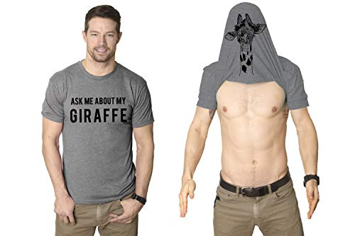 Ask Me About My Giraffe T Shirt Funny Animal Flip Cool Graphic Hilarious Tee (Light Heather Grey) - M