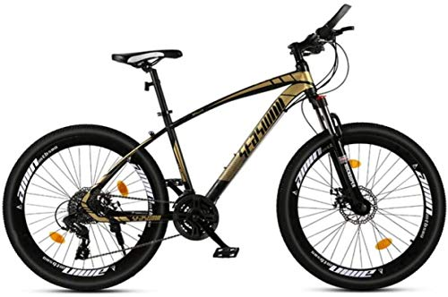 HCMNME Durable Bicycle, 26 inch Mountain Bike Male and Female Adult Ultralight Racing Light Bicycle Spoke Wheel Alloy Frame with Disc Brakes (Color : Black Gold, Size : 21 Speed)