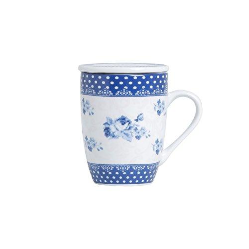 Conjunto Caneca com Tampa e Filtro de Porcelana Elsa Lyor Azul/ Branco