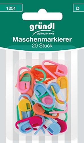 Gründl, 20 Stück Maschenmarkierer, Kunststoff, Bunt, 12 x 6.5 x 1.3 cm