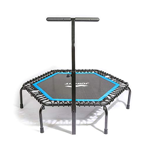 Trampoline Lxn Silent Fitness Mini Blue with Adjustable Handrail Handle Bar – Indoor Rebounder for Adults – Best Urban Cardio Workout Home Trainer– Max Limit 330 lbs