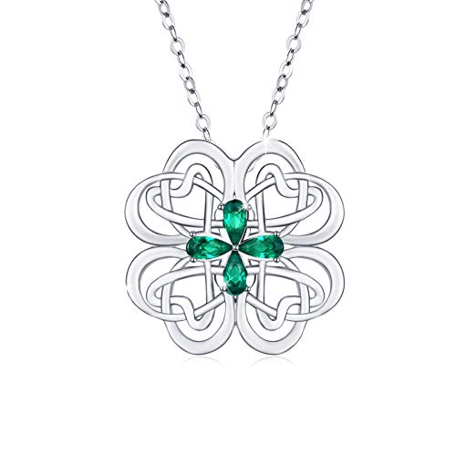 CUOKA MIRACLE Celtic Knot Necklace, Four Leaf Clover Necklaces S925 Sterling Silver Irish Pendant Cubic Zirconia Necklace Good Luck Necklace Gift for Women Lover Girlfriend