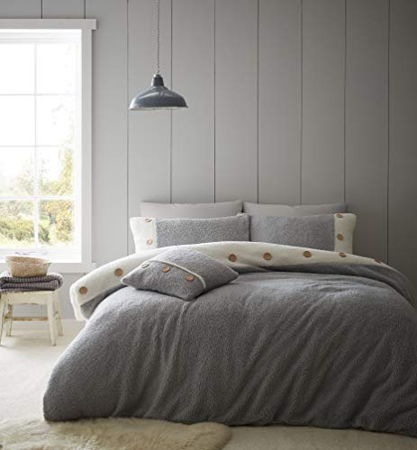 Catherine Lansfield So Soft 2 Tone Buttoned Sherpa Double Duvet Set Grey