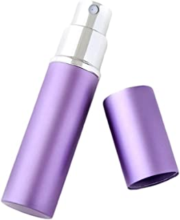LANL 5ml Refillable Travel Perfume Bottles, Mini Portable Aftershave Atomiser Spray Bottles Empty Bottle for Purse Pocket Luggage,1.8x8.4cm (Color : Purple)