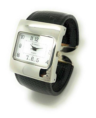 Wincci - Reloj de Pulsera para Mujer, Piel de Serpiente, Cuadrado, Esfera Blanca
