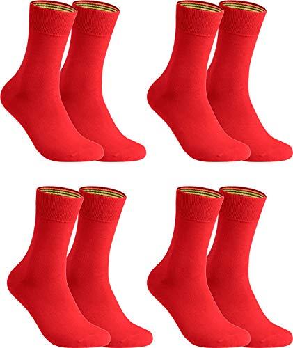 gigando Socken Herren Baumwolle Uni Farben 4er oder 8er Pack in Premiumqualität bunt farbige Strümpfe für Anzug, Business, 43-46, 4 Paar - Rot