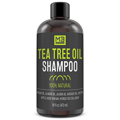 M3 Naturals All Natural Tea Tree Oil Shampoo Infused with Biotin Collagen Apple Cider Vinegar for...