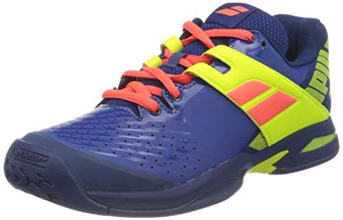 Babolat Kinder Propulse Allcourt Junior Tennisschuhe Allcourtschuh Blau-Zitronengelb 35,5, Scarpe da Tennis Unisex-Bambini, Blue Fluo Aero, 35.5 EU