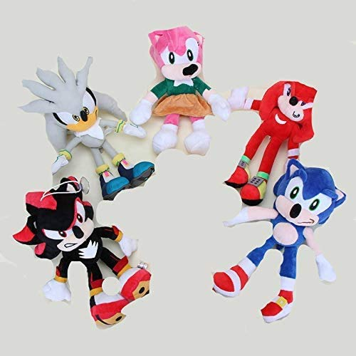 HEZHANG Sonic Pelush Toys 5Pcs / Lot 19'25 cm Sonic The Hedgehog Super Big Sonic Pelush Hedge Hedge Silver The Hegdehog Cosplay Disfraz Soft Stuffed Muñeca de Peluche