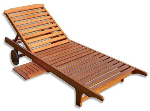KMH®, Gartenliege aus massivem Eukalyptusholz mit integriertem Tisch (#101018)