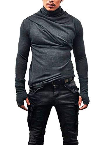 Pullover Haut Homme Hiver Chemise Décontractée à Col Montant Coupe Slim Couleur Unie Trou de Pouce Gant Col Roulé Haut Gris XL