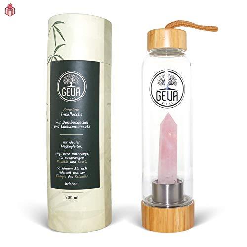 GEVA Vital Premium Edelstahl und Glas Trinkflasche 500 ml mit Edelstein zur Wasserbelebung - Edelsteinwasser für zuhause und mitnehmen - Perfekte Wasserflasche zum nachfüllen (Rosenquarz)