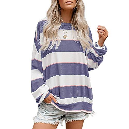 NANTE Top Loose Women's Blouse Oversized Striped Tunics Shirts Pullover Sweatshirt Womens Tops Shirt Ladies Costume Clothing (Purple, XL)