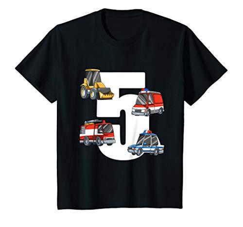 Kinder Rettungswagen und Bagger - 5 Jahre Kindergeburtstag T-Shirt