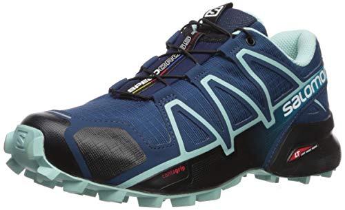 Salomon Women's Speedcross 4 W Trail Running Shoe, Poseidon/Eggshellblue/Black, 5 Wide US