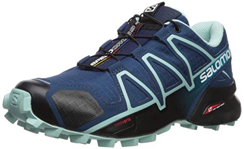 Salomon Women's Speedcross 4 Trail Running Shoes, Poseidon/Eggshell Blue/Black, 8 Wide
