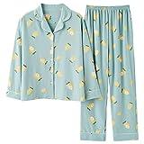 xiaokeai Suave Camisón Las Mujeres Pijamas Set otoño Limón Impreso Ropa de Noche Turn-Down Collar Pijama Comfort Puro y la Naturaleza Homewear Cómodo Camisones (Color : Green, Size : XXL Size)