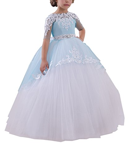 Abaowedding Flower Girls Long First Communion Dresses Kids Pageant Prom Ball Gowns(Size 6,Blue)