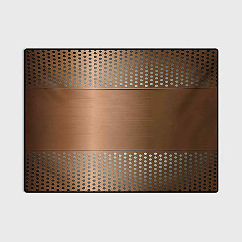Industrial Christmas Bathroom Rugs Patio Rugs Perforated Grid Plate Steel with Dots Illustration Futuristic Technology Theme for Bedroom Floor Sofa Living Room Ombre Bronze 5 x 8 Ft