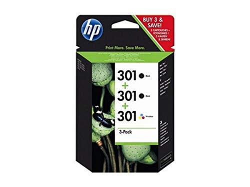 HP 301 E5Y87EE, Confezione da 3 Cartucce Originali, da 545 Pagine, per Stampanti a Getto di Inchiostro HP DeskJet 1050, 2540, 3050, OfficeJet 2620, 4630 e ENVY 4500 e 5530, 2 Nero e 1 Tricromia