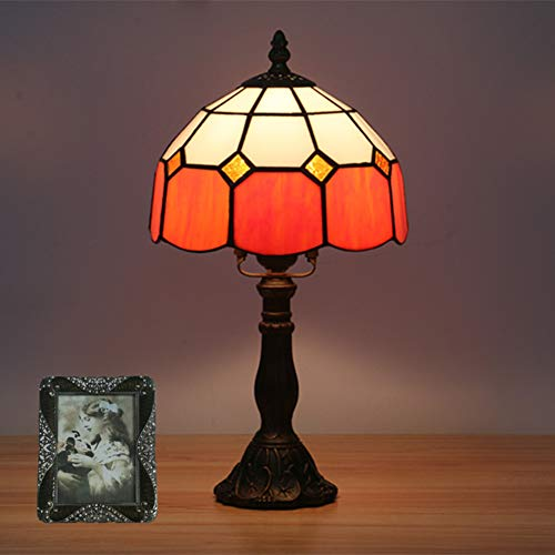 GUOGEGE Tiffany Tafellamp, Europese retro eenvoudige 15 Inch Tall bureaulamp gekleurd glas lampenkap slaapkamer nachtlampje, YF036