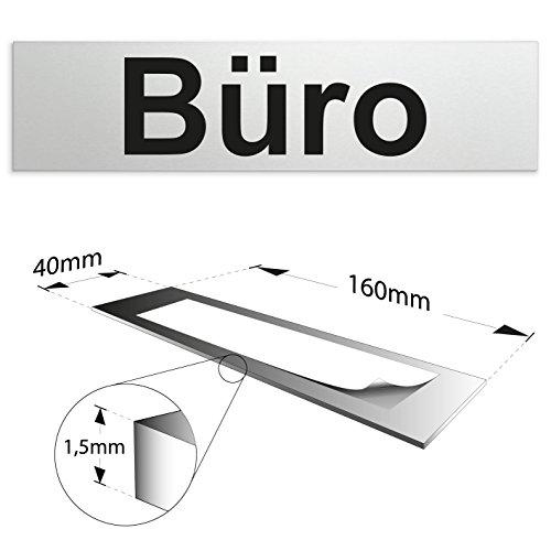 Kinekt3d Leitsysteme Schild/Türschild 160 x 40 x 1,5 mm - Aluminium Vollmaterial eloxiert - Oberfläche in geschliffener Edelstahloptik - 100% Made in Germany (Büro)