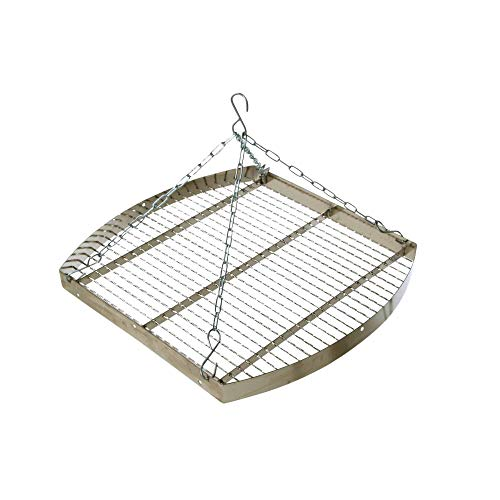 acerto 31174 Ungarischer Grillrost mit Kette, 50 cm * Verchromt * Mit Außenring * Besonders robust | Grillgitter zum Aufhängen am Dreibein | Gitterrost, Grillauflage für Schwenk-Grill