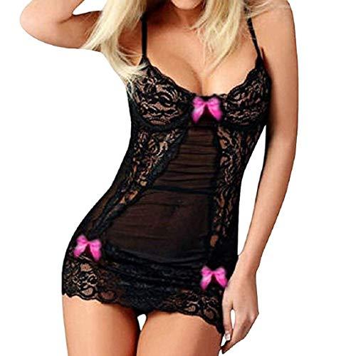 Tuopuda Lingerie Donna Sexy Pizzo Babydoll Pigiama Maglia Biancheria Intima Nightdress Camicia da Notte Sexy Sleepwear (XXL, Rosa Caldo)