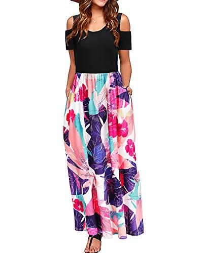 STYLEWORD Women's Summer Cold Shoulder Floral Print Elegant Maxi Long Dress with...