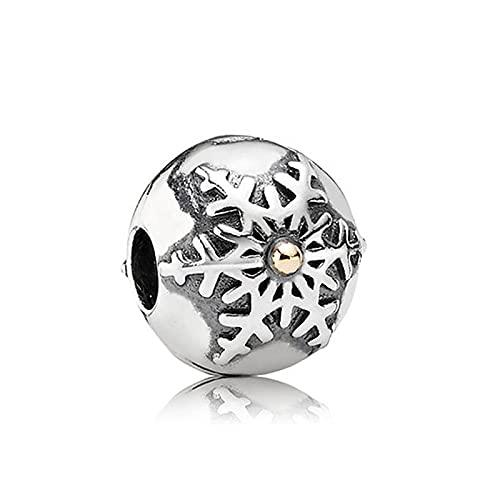 LIIHVYI Pandora Charms para Mujeres Cuentas Plata De Ley 925 Clip De Copo De Nieve Regalo Joyería De Bricolaje Compatible con Pulseras Europeos Collars