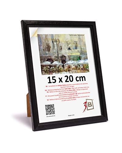 3-B Cadre de l'image JENA - Noir - 15x20 cm - Cadre Photo en Bois, Photo, Mural et de Table avec Verre Polyester (Feuille de Plastique)