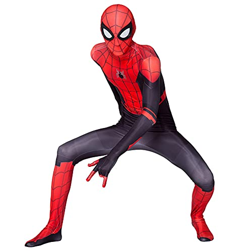 LXYGRY Les Costumes Body Costumes Boyses Suit Spiderman Noël Halloween Cosplay Fancy Robe d'une pièce Collants de Justaucorps Adultes Costume d'accessoires de Film 3D,Red-Kid S 90~100cm