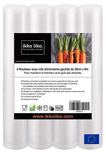 Vakuumrollen für Lebensmittel, geprägt, 4 Rollen 28 cm x 6 m Folienrollen BPA-Frei für alle Vakuumierer, stark & reißfest, Lebensmittel Vakuumiergerät
