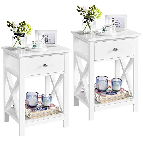 Yaheetech Bedside Table Set of 2, X Shaped Cabinet with Drawer and Open Shelf Wooden Nightstand Storage Unit for Bedroom Small Side Table for Living Room, White, 40x30x55cm
