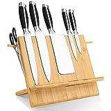 Leader Accessories Porta Coltelli da Cucina Magnetico, Ceppo in bambù Portacoltelli Universale e Utensili, Tavoletta Magnetica Salvaspazio, Portaposate Ecologico, Organizzazioni da Cucina in bambù