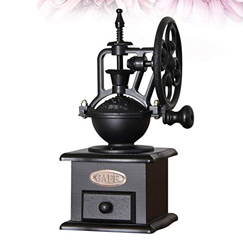 ACEACE 1PC Retro Coffee Grinder Hand Crank Coffee Mill Manual Coffee Maker Kitchen Decoration For Home Shop (Color : Black)