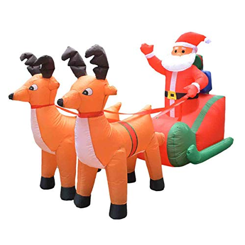 GLXQIJ Self-Inflating Inflatable Xmas Santa Claus Sledge Sleigh Reindeer Outdoor Blow Up Christmas Holiday Decoration Lighting Decor