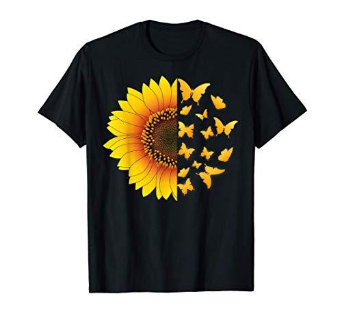 Girasol Con Mariposas Voladoras Hippie Bohemia Mujer Regalo Camiseta