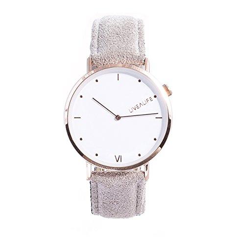 LIVEALIFE grau Unisex Armbanduhr dünn Analog Quarz 40mm Leder Wildleder Vintage Business Look Minimalistisches Design rose gold Damen und Herren