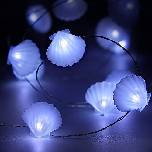 10 Fuß 40 LEDs Lichterkette, Sommer Strand Thema Dekoration, Mexiko/Mittelmeer-Stil Haus Dekor Batterie mit 12 Modi, Fernbedienung und Timer für Mädchen Jungen Schlafzimmer (Weiß Muschel)