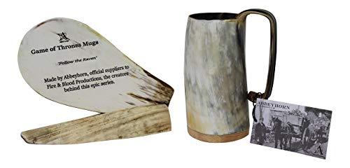 Abbeyhorn Unico Artigianato Medio Corno di Bue Boccale Soldati Idromele Tazza - 2 Finiture Disponibile