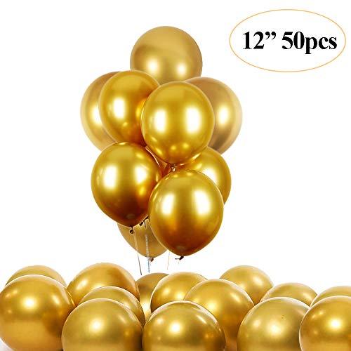 """JUZNOY 50 Stück 12"""" Luftballons Metallic Gold Silber Bunte Weiß mit Konfetti Balloons für Geburtstag Hochzeit Babyparty Valentinstag (Gold-1)"""