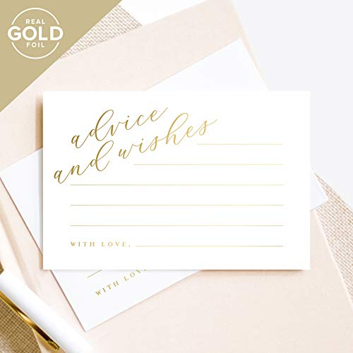 Bliss Collections Gold Advice and Wishes Cards, Perfect for the Bride and Groom, Mr and Mrs, Baby Shower, Bridal Shower, Wedding, Graduation or Special Event, 50 Pack of 4x6 Cards