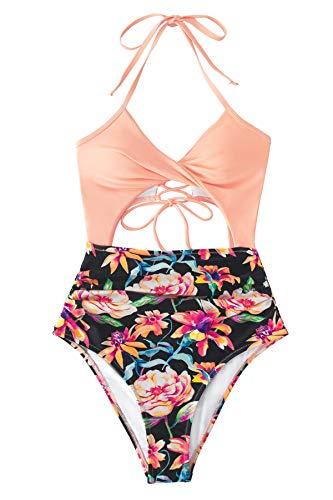 CUPSHE Bañador para Mujer Estampado Floral Halter Abertura Traje de Baño, XS