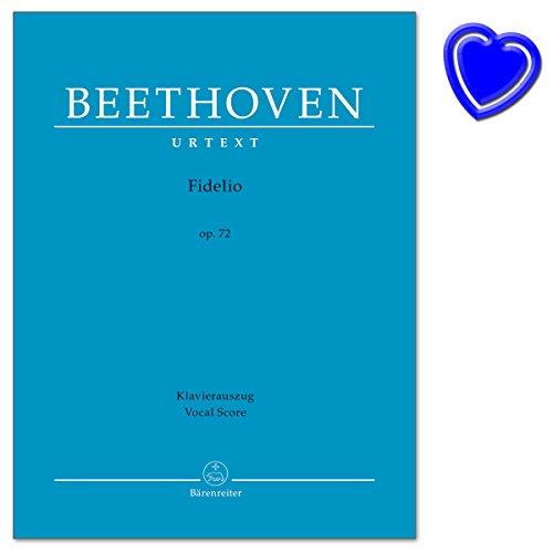 Fidelio op. 72 - Oper in zwei Aufzügen von Ludwig van Beethoven, Friedrich Treitschke - Klavierauszug vokal, Urtextausgabe - Notenbuch mit bunter herzförmiger Notenklammer