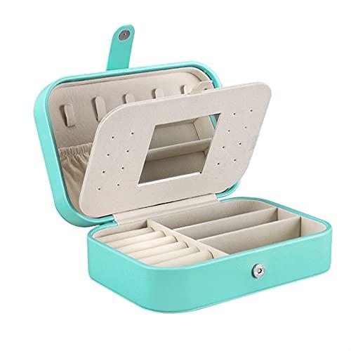 SONG Cajas de Joyas de Doble Viaje para Mujeres Caja de Almacenamiento de joyería portátil con Espejo Pequeñas Joyas (Color : Blue)